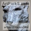 Bronze Cats Wild and Big Cats sculpture by sculptor Edward Waites titled: 'High and Mighty (Snow Leopard Bronze Head Bust sculpture statue)'