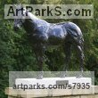 Bronze Garden Or Yard / Outside and Outdoor sculpture by sculptor Edward Waites titled: 'Stallion (Dubawi)' - Artwork View 4