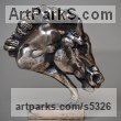 "bronze Horse Head or Bust or Mask or Portrait sculpture statuette statue figurine by Edward Waites titled: ""Warhorse (bronze Horses`s Head Bust statue statuette Figurine)"""