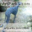 GALVINISED STEEL WIRE Dogs sculpture by Emma Walker titled: 'life size `WALKING WHIPPET DOG`'
