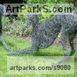 Painted galvinised steel wire Dogs sculpture by sculptor Emma Walker titled: '`young whippet playing` 2 study wire' - Artwork View 5