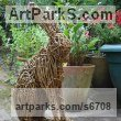 Willow Hares and Rabbits sculpture by sculptor Emma Walker titled: 'Willow HARE no.2 (Woven Willow garden/Yard statue/sculpture/For sale)'