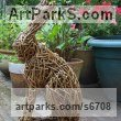 Willow Garden Or Yard / Outside and Outdoor sculpture by sculptor Emma Walker titled: 'Willow HARE no.2 (Woven Willow garden/Yard statue/sculpture/For sale)' - Artwork View 4