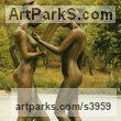 Bronze Musician and Musical sculpture by sculptor Enzo Plazzotta titled: 'Conversation (Bronze nude Girl Musicians sculptures)'