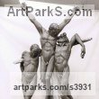 Bronze Spiritual sculpture by sculptor Enzo Plazzotta titled: 'Crucifixion (Jesus and theRobbers life size statues)'