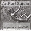 Bronze Wall Mounted or Wall Hanging sculpture by sculptor Enzo Plazzotta titled: 'Isadora Duncan (Bronze Plaque Wall sculptures)'