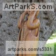 Olive wood Human Form: Abstract sculpture by sculptor Eric Kempson titled: 'Edvard The Scream (Carved garden Olive Wood sculpture carving)' - Artwork View 4