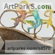 Bronze Human Form: Abstract sculpture by sculptor Esther Wertheimer titled: 'Cyclists'