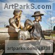 Bronze Public Art sculpture by sculptor Felix Velez titled: 'Whitney and Friends (bronze Portrait Group sculpture)'