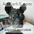 Cold Cast Bronze Dogs sculpture by sculptor Fernando Collado titled: 'French Bulldog (Head or Bust Portrait statuette)'