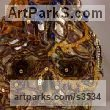 Prompt/indian fabric/glass paste Mosaic sculpture by sculptor Francony Kowalski titled: 'Vanitas/Skull 4 (Flamboyant Exuberant Bust sculptures)'