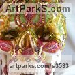 Plaster/indian fabric/strass Flamboyant Colourful Exuberant Exotic Gaudy Gorgeous Dedcorative Vivid Brightly Coloured Spectacular sculpture by sculptor Francony Kowalski titled: 'Vanitas/Skull 3 (Bright Colourful Floral Macabre sculptures/statues)'