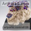 Stainless Steel beads, Tree Burl, Bronze Polychrome Sculpture Multi-Coloured sculpturettes statuary sculpture by sculptor Xinmin Fu titled: 'Sprout 3 (Small Interior Contemporary Bubbles sculpture)'