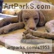 Terracotta Dogs sculpture by Gaetano Cherubini titled: 'Dog (Sleeping Exhausted Hound Terracotta sculpture)'