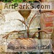 Copper Plant Outdoor Outside Garden or Yard sculpture statue statuette sculpture by Gary Pickles titled: 'Hosta Copper Water sculpture (Pool or Pond Fountain)'