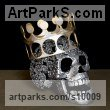 Mild-Steel Busts and Heads Sculptures Statues statuettes Commissions Bespoke Custom Portrait Memorial Commemorative sculpture or statue sculpture by Georgie Poulariani titled: 'Still Breathing (Crowned Metal Skull sculpture)'