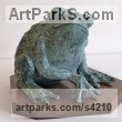 BRONZE Reptiles Sculptures and Amphibian sculpture by sculptor Gill Brown titled: 'Prince Charming (Fun bronze Big Frog sculpture)'