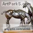 Bronze Polo Pony and Pony sculpture / statue / statuette / figurine / ornament Portraits Commissions Memorials sculpture by sculptor Gill Parker titled: 'Pony Lines (Small bronze Two Polo Ponies Between Chukkas sculptures)'