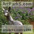 Bronze Deer sculpture by sculptor Gill Parker titled: 'Roe-Buck (Bronze life size Male Deer garden statues)'