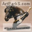 Bronze Horses Heavy / Working Shire, Plough, Dray, Barge, Horses sculpture statuettes commissions memorials sculpture by sculptor Gill Parker titled: 'Sunday Workhorse (Head/Bust Cart Horse statuette/statue/sculpture)'