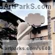 Yellow stone Abstract Modern Contemporary sculpture statuettes figurines statuary sculpture by sculptor Giorgie Cpajak titled: 'Imagination (abstract Focal Contemporary Outdoor statue)'