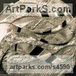 "aluminium Abstract Modern Contemporary Avant Garde sculpture statue statuettes figurines statuary both Indoor Or outside by Glynis Owen titled: ""Caldera (Circular abstract Metal Indoors Inside sculptures)"""