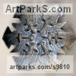 Aluminum Geometric Sculpture Statues statuary statuettes. Usually Abstract Contemporary Modern work sculpture by Goran Gus Nemarnik titled: 'Snowflake (Outsize Metal Wall Mounted sculpture)'