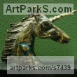 Bronze Horse Head or Bust or Mask or Portrait sculpturettes statue figurines sculpture by sculptor Goran Gus Nemarnik titled: 'Unicorn (Little Indoor Desk Top Head Bust Bronze Metal Stylised statue)'