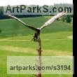 Mild steel Varietal Mix of Bird Sculptures or sculpture by sculptor Gordon Dickinson titled: 'Bird of Prey (Falcon Raptor Eagle Hawk Harrier Alighting Landing statue)' - Artwork View 3