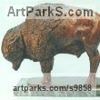Foundry bronze American Animal Bird Reptile and Fish Sculptures, Statues, statuettes, figurines sculpture by Graham High titled: 'BISON (American Buffalo Standing at Bay sculptures)'