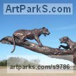 Bronze American Animal Bird Reptile and Fish Sculptures, Statues, statuettes, figurines sculpture by Graham High titled: 'Jaguars (Bronze Two Squabbling on Tree Branch statues)'
