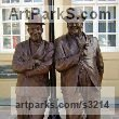 Bronze Playground Art Fantasy or Cartoon Statues sculpture by Graham Ibbeson titled: 'Laurel and Hardy (bronze life size Film Star sculpture/statue)'