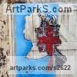 "Aluminum and Glass Mosaic Pop Art Sculpture by Guy Portelli titled: ""The Queens Head (Modern abstract Patriotic Plaque statue)"""