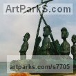 Foundry cast bronze Mythical sculpture by Hans Blank titled: 'Easter Island Balsa Raft (Small Bronze Kon Tiki sculpture)'