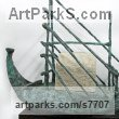 Foundry cast bronze / carved limestone Abstract Contemporary or Modern Outdoor Outside Exterior Garden / Yard Sculptures Statues statuary sculpture by Hans Blank titled: 'RA 2, Papyrus Boat (abstract Reed Boat Ship statue sculpture)'
