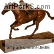 Bronze Horses Small, for Indoors and Inside Display sculpturettes Sculptures figurines commissions commemoratives sculpture by sculptor Harriet Glen titled: 'Frankel (Stallion Racehorse and Jockey Racing statuette)'
