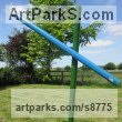 Wood and steel Abstract Contemporary or Modern Outdoor Outside Exterior Garden / Yard sculpture statuary sculpture by sculptor Henrietta Bud titled: 'Colouring in Grass and Sky (Large version - Fun Lawn crayon statue)'