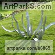 Galvanized steel Floral, Fruit and Plantlife sculpture by Iron Vein titled: 'Agave, (Galvanized fabricated Steel garden Yard Decor statue sculpture)'
