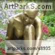 Bronze Contemplative, Restful, Thougtful sculpture by J Anne Butler titled: 'Purity (Little Simple Seated Naked Girl bronze statue)'