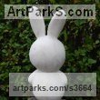 Portuguese Marble Garden Or Yard / Outside and Outdoor sculpture by sculptor James Sutton titled: 'Toy III (Carved marble Childs Toy Rabbit statuettes/sculpture)' - Artwork View 2