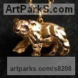 Sterling Silver- Vermeil gold Plated Bears sculpture by sculptor James Veale titled: 'Atlas Bear Necklace - Vermeil'