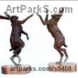 Bronze Hares and Rabbits sculpture by sculptor Jan Sweeney titled: 'March up and March Down'