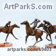 Bronze Horses Small, for Indoors and Inside Display Statues statuettes Sculptures figurines commissions commemoratives sculpture by Jan Sweeney titled: 'Polo Group (Players and Ponies Small Bronze sculptures)'