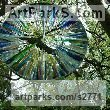 Mirrored stainless steel. stained glass Glass or Acrylic Transparant sculpture by sculptor Jane Bohane titled: 'Echo (Circular Contemporary Glass Shard garden sculpture)'