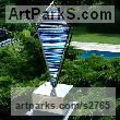 Mirrored stainless steel. stained glass Glass or Acrylic Transparant sculpture by sculptor Jane Bohane titled: 'Pucci (Kite Shaped Blue + White Glass garden sculpture)'