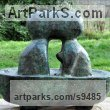 Bronze Love / Affection sculpture by Jasper Lyon titled: 'Rendez-vous à six heures (abstract Couple in Bath statue)'