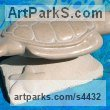 Tennesse Marble and Limestone Animal Abstract Contemporary Modern Stylised Minimalist sculpture by Jeff Birchill titled: 'The Glide - (Swimming SeaTurtle carved stone statue)'