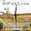 Slate Resin Abstract Contemporary Modern Outdoor Outside Garden / Yard sculpture statuary sculpture by sculptor Jennifer Watt titled: 'The Bride (Vertical Thin abstract life size garden statue)' - Artwork View 2