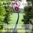 Galvanised Steel and Blown Glass Garden Or Yard / Outside and Outdoor sculpture by sculptor Jenny Pickford titled: 'Hope (Big Glass abstract Flower garden/Yard statue)'