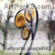 Forged steel and blown glass Garden Or Yard / Outside and Outdoor sculpture by sculptor Jenny Pickford titled: 'Unfurl (Large Glass Flower Plant garden/yard statue)' - Artwork View 4